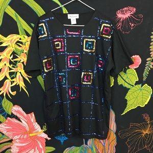 VINTAGE / Beaded Tee Shirt Blouse